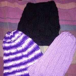 Other - 3 Handmade NEW Knitted Hats TOTAL $13